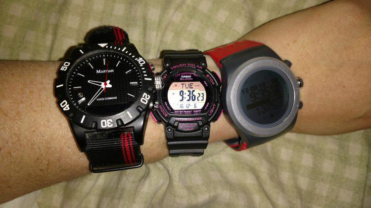 (L to R: Martian Watch, Casio Tough Solar, LifeTrak R420)