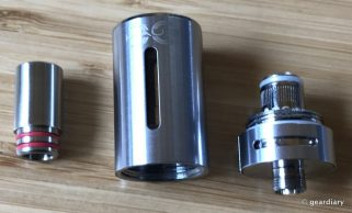 From left to right: The mouthpiece, the tank tube, and the tank coil screwed into the tank base.