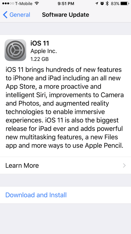 Update to iOS 11 in Advance of the Official 9/19 Release Date