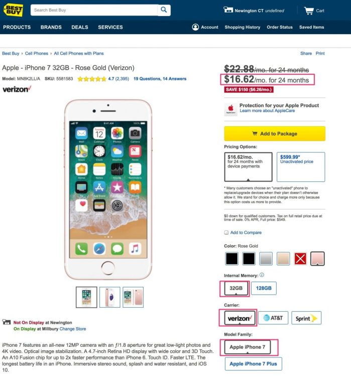 Best Buy Has iPhone 7: 32 GB for $ 399 NBC (No Bill Credits!)