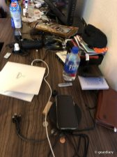 Can you spot the Nomad Wireless Hub in all the CES detritus? ;-)