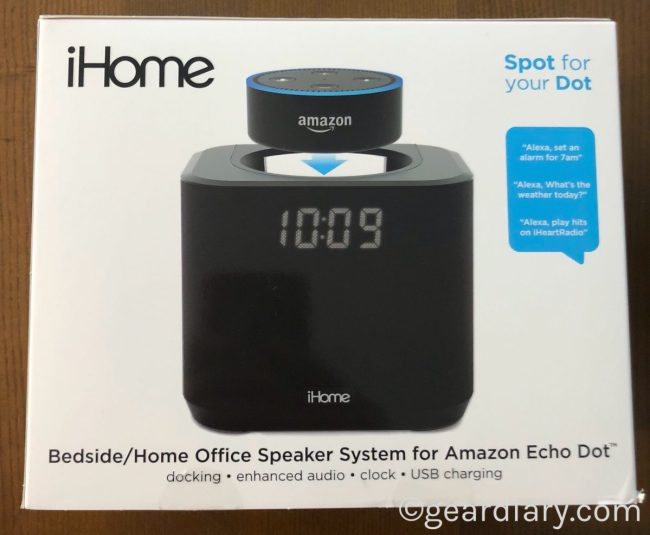 GearDiary The iHome iAV2 Is a Dock with a Clock for Your Amazon Echo Dot