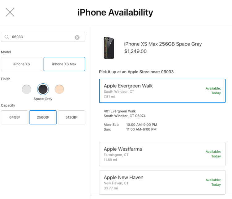 IPhone XS and XS Max Available for In-Store Pickup
