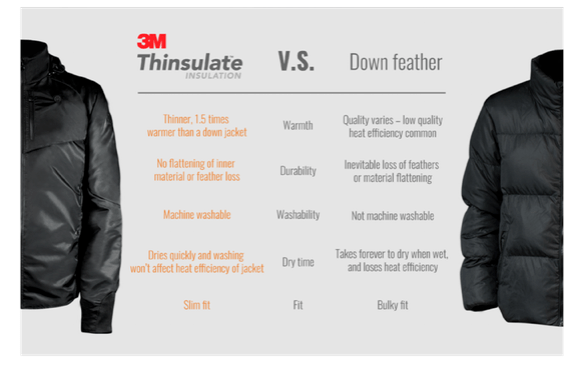 3M Thinsulate vs Down Feathers