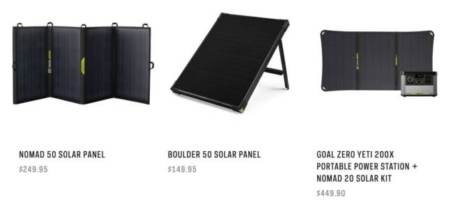 Goal Zero YETI 200X Portable Power Station solar power options