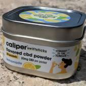The front of the Caliper Swiftsticks Lemonade Flavored CBD Powder tin
