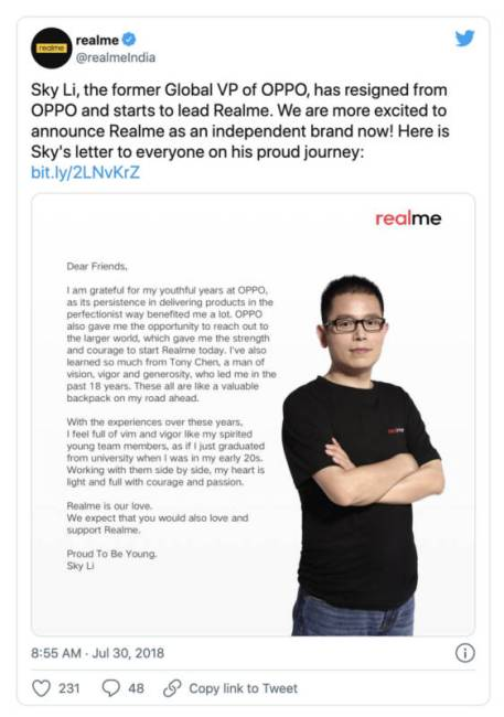 Twitter announcement of Sky Li leaving OPPO to lead Realme