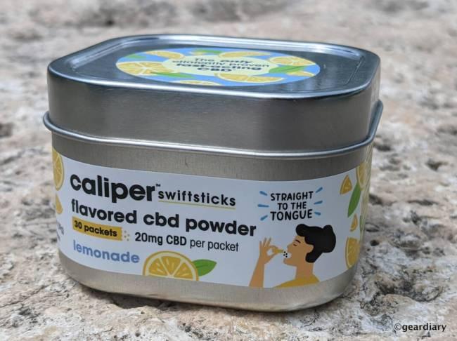 Front of Caliper Swiftsticks Lemonade Flavored CBD Powder tin