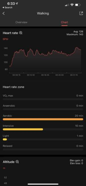 Amazfit PowerBuds Pro app showing report on activity