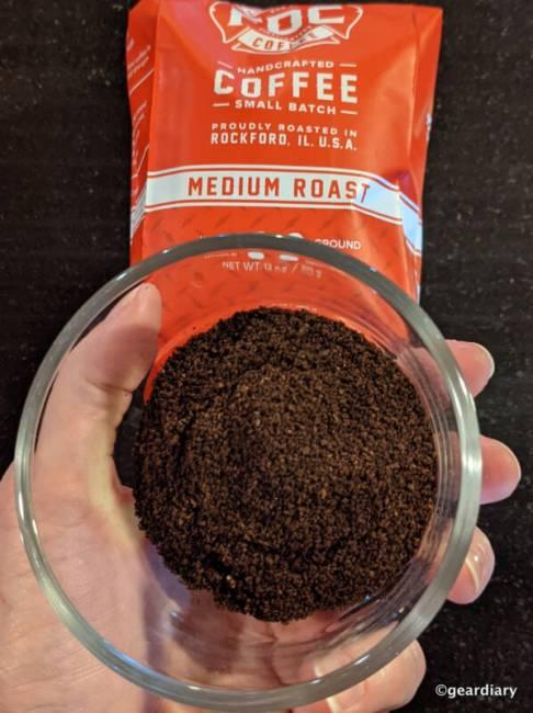 Two tablespoons of Fire Department Coffee Original Medium Roast.