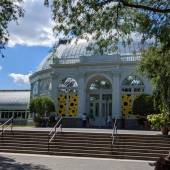 The front of the Enid A. Haupt Conservatory in the Bronx.
