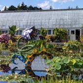 Yayoi Kusama sculptures in the waterlily garden.
