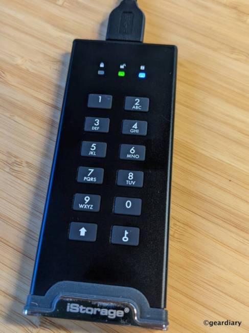 Blinking LEDs on the iStorage diskAshur M2 during Admin PIN setup.