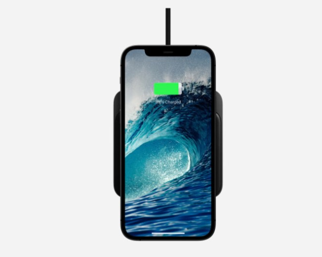 iPhone on Nomad Base Station Mini Magnetic Wireless Charger