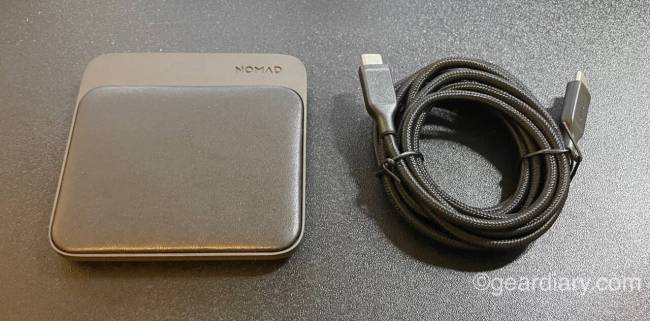 Nomad Base Station Mini Magnetic Wireless Charger and charging cable