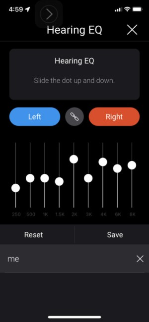 Olive Pro Audio Enhancing Earbuds Hearing EQ in the app.