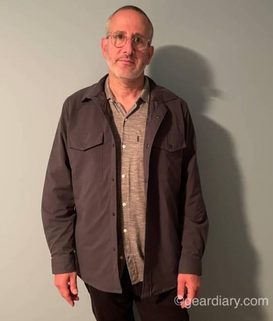 The author wearing the Olivers Stadium Shirt Jacket.