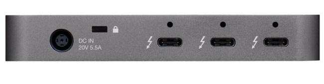 Ports on the back of the OWC Thunderbolt Hub.
