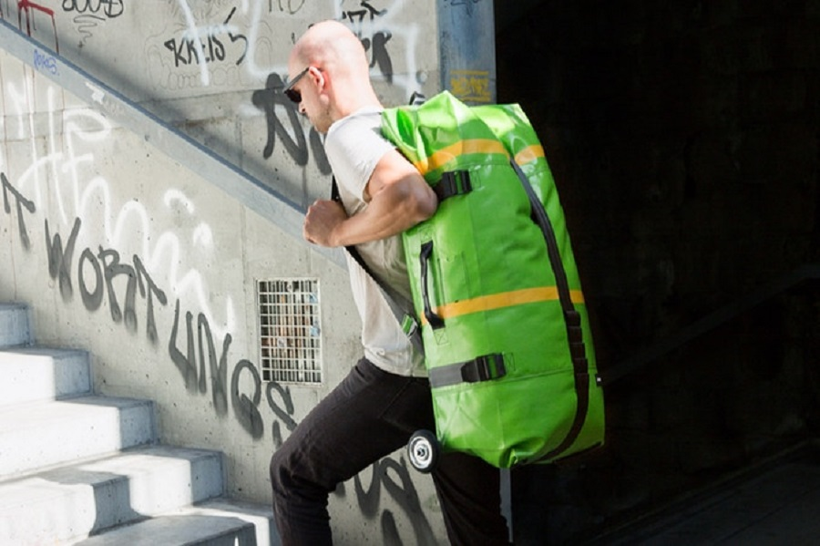 The Zippelin Bag is Made of Recycled Truck Tarps and Inner Tubes