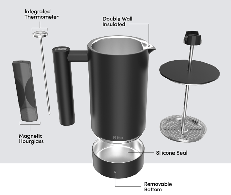 Rite Press The No-Mess French Press, Makes A Perfect Cup of Coffee Every Time