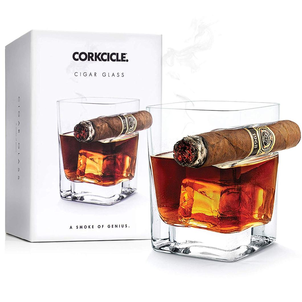 This Corkcicle Cigar Glass Is A Whiskey Glass With A Cigar Holder Built In