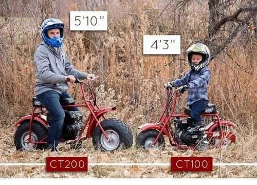 Coleman Mini Bike Size chart