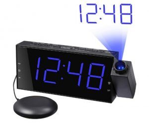 Loud Alarm Clock with Bed Shaker & Projector