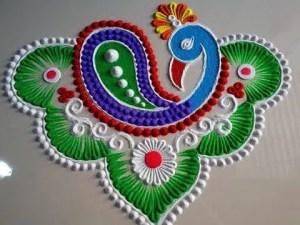 peacock rangoli designs 2020