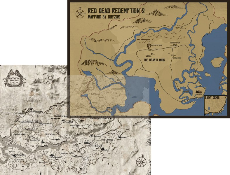 Red Dead Redemption 2 Fan Made World Map Looks Amazing  Comparison     Keep in mind that this was one of the early leaks for the game so there is  always the chance that the design of the map was changed in time for the