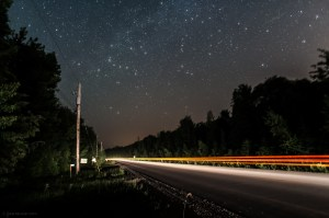 Stars over a lone country road