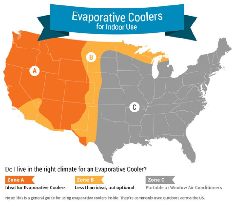 Evaporative Coolers for indoor use map