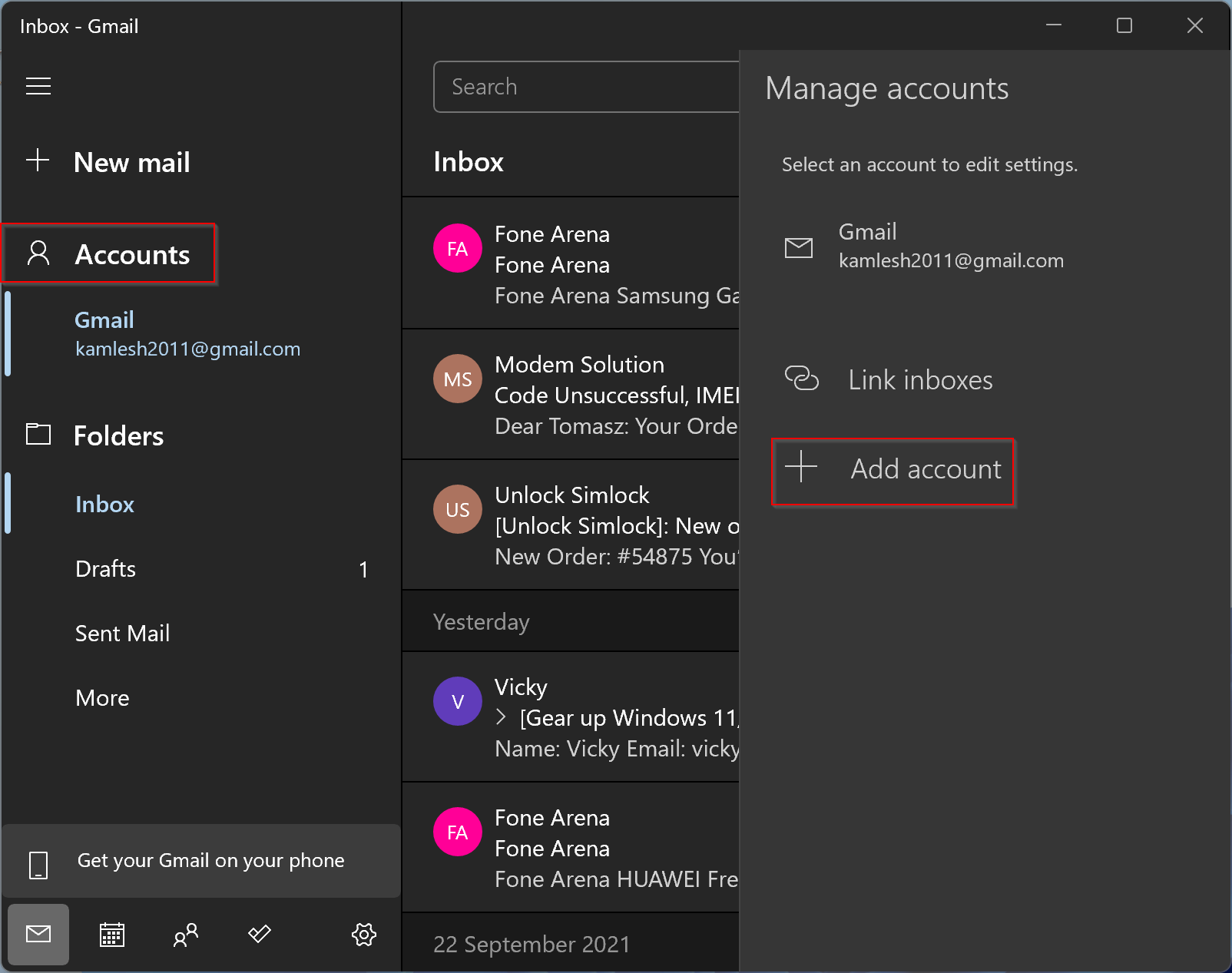 How to Add or Remove Gmail Account to/from Mail App in Windows 11?