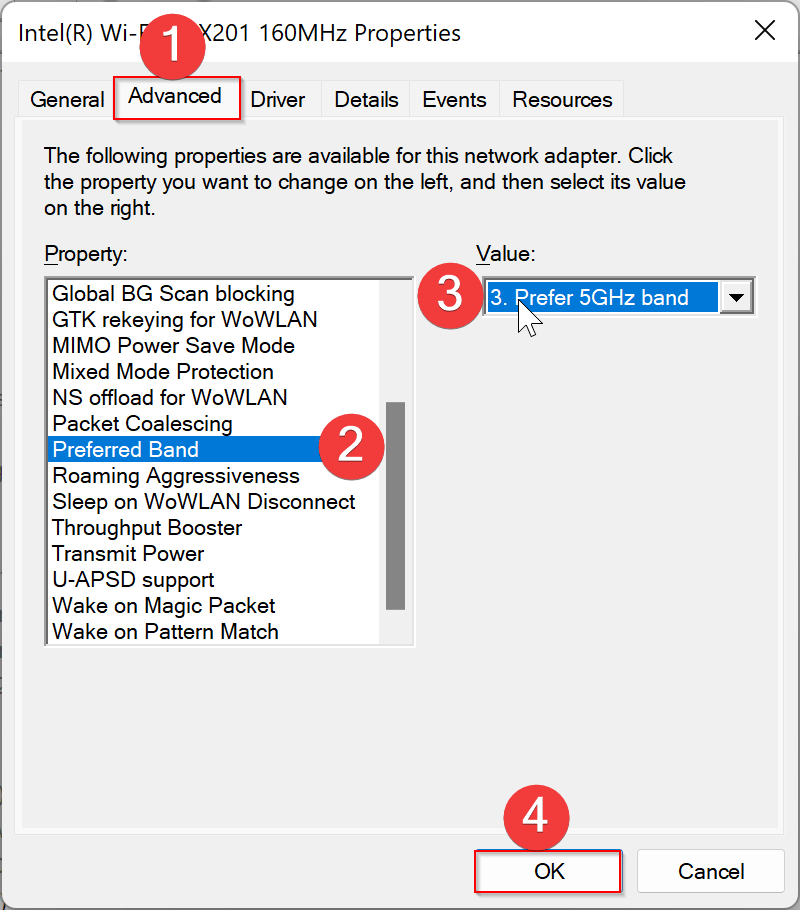 How to Force Wi-Fi to connect Over 5GHz in Windows 11/10?