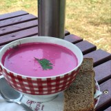 Rote-Beete-Joghurt-Suppe auf dem Bauernhof
