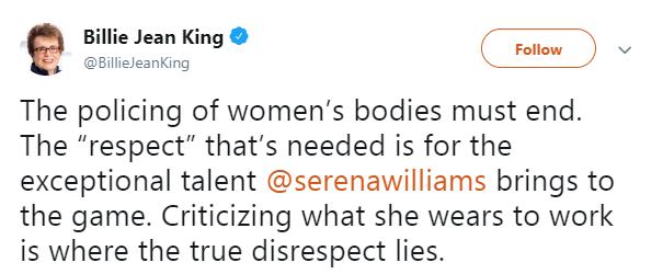 female tennis, wta changes, billie jean king tweet