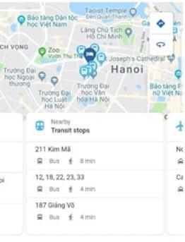Google Hotel Search: Transit stops nearby