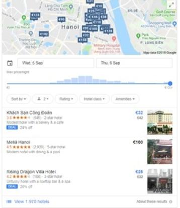 Google Hotel Search engine old interface