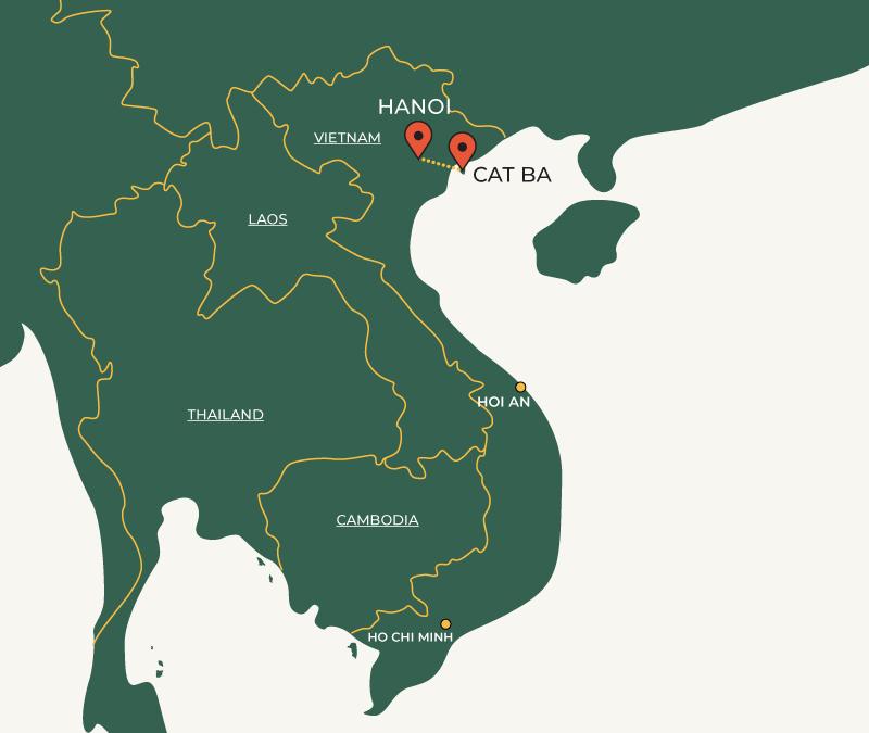 CatBa to Hanoi travelroute