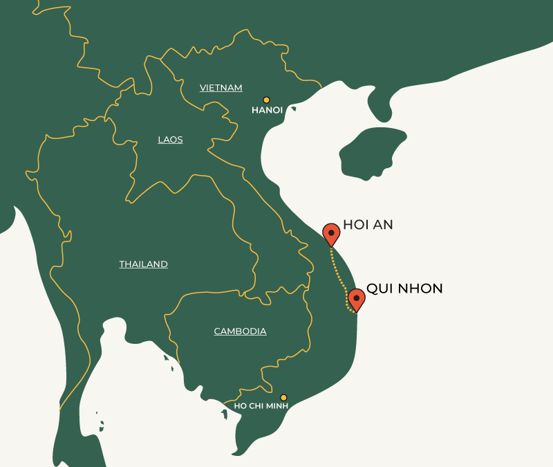 Hoi An to Quy Nhon travelroute