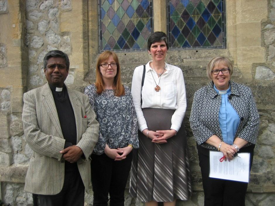Left to right - Revd. Raymond Singh (Interim Moderator to the pastorate) Mrs Elizabeth Kam CRCW (Preacher) Revd. Alison Davis, Revd. Nicola Furley-Smith (Moderator Southern Synod)