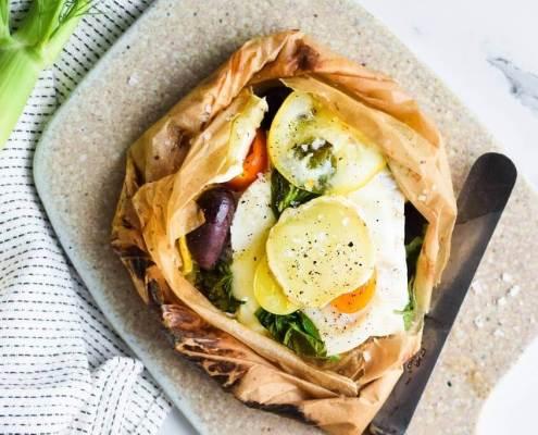Fisk en papilotte - fiskepakke i ovn, fiskepakke med torsk og gedeost
