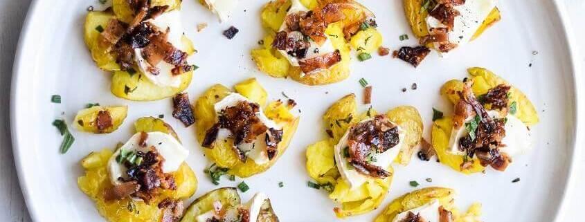 nuste kartofler i ovn med gedeost og bacon
