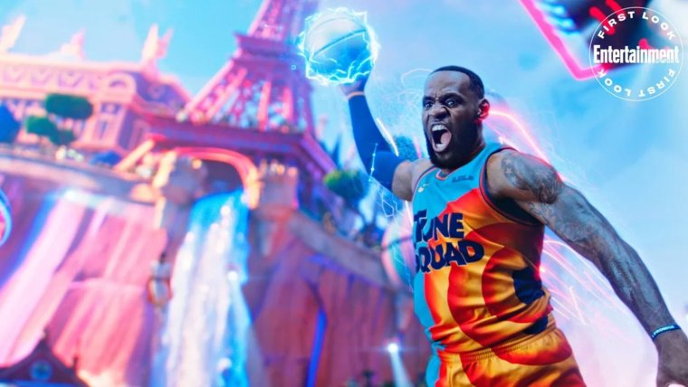 first photos from space jam a new legacy and new story details which includes lebron james passing through other wb films