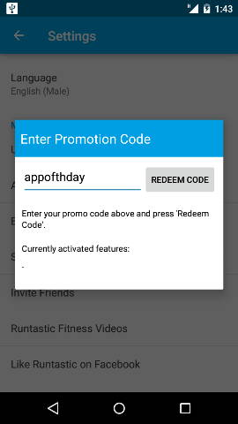 Enter code in settings