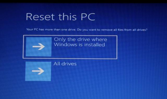 Reset only drive with windows 10
