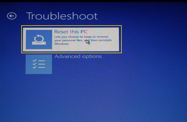 Reset this PC windows 10