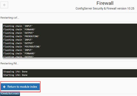 install configserver firewall restart