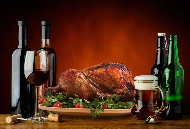 A stock photo of a turkey with some beer. And wine. And more beer.
