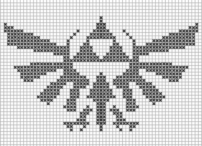 Triforce cross-stitch pattern