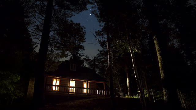 Here's a stock photo of a cabin in the woods at night. You know, for atmosphere.